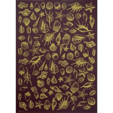 Bethge Geschenkpapier Muscheln aubergine 50 x 70 cm, 3 Bögen