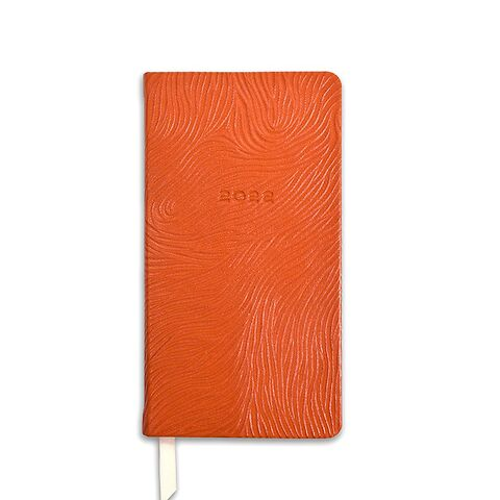 Kalender Pocket 1Woche/2S. 2022 Leder Goat 'Circles', orange