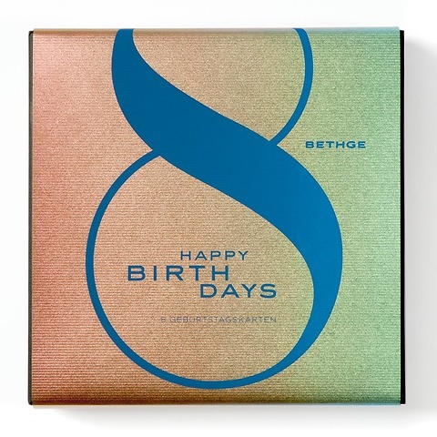 Giftbox HAPPY BIRTHDAYS Quadratisch mit 8 Karten + Umschläge