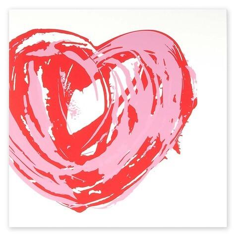 Grußkarte Grand Coeur rot/rosa quadratisch