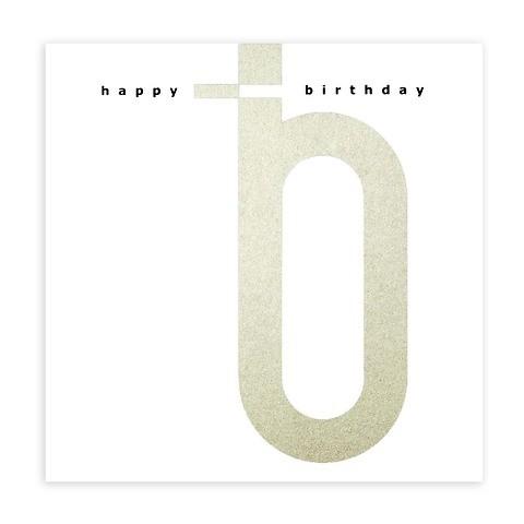 Grußkarte Geburtstag letter silber/schwarz Happy Birthday