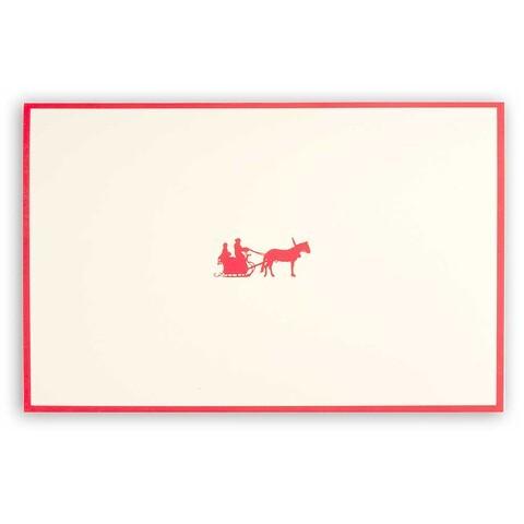 Weihnachtskarte Schlittenpartie Diplomat Rahmen rot