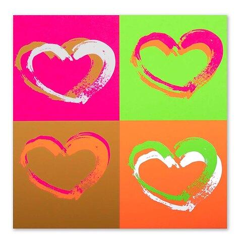 Grußkarte Passion Hearts Pop Art Neon quadratisch