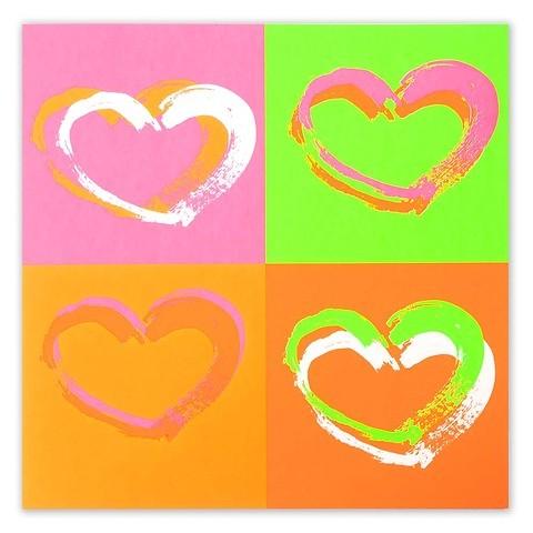 Grußkarte Passion Hearts Pop Art Neon quadratisch 21x21
