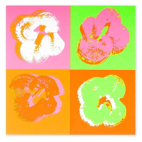 Grußkarte Passion Four Flowers Pop Art Neon quadratisch