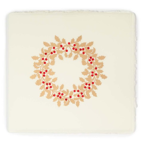 Weihnachtskarte Ilexkranz Bütten quadratisch