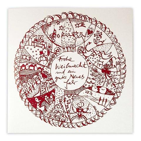 Weihnachtskarte Mandala Perlmutt quadratisch 21x21
