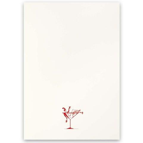 Grußkarte Lady in Champagne rot A5