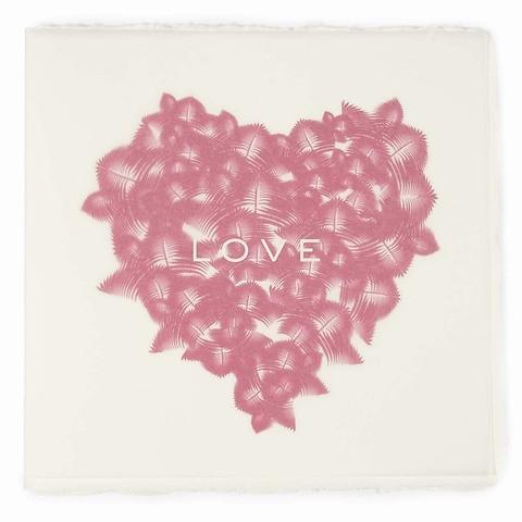 Grußkarte Federherz pink Bütten quadratisch love neonpink