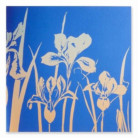 Grußkarte Schwertlilie blau Farbverlauf silber/gold quadrati