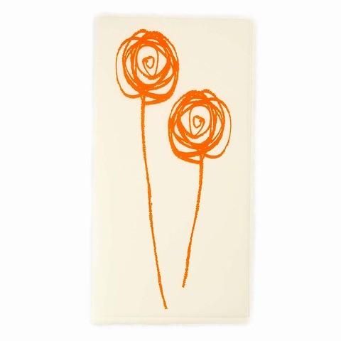 Grußkarte Fairy Flower neonorange Bütten DIN lang