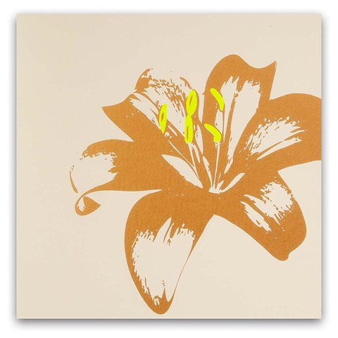 Grußkarte Lilie auf Pure sand quadratisch