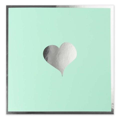 Grußkarte Herz mint quadratisch