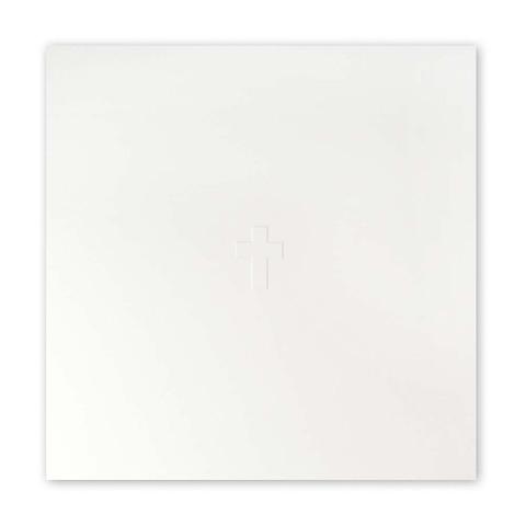 Grußkarte Kreuz blindgeprägt Helvetica quadratisch Opal ecru