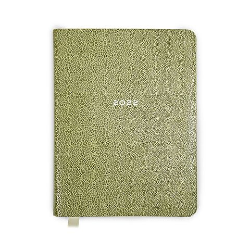 Kalender 1Woche/Notes 2022 Leder Rochen (Calf), olive